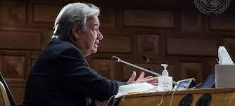 Guterres calls on US to lead global vaccination plan effort, climate action, welcoming Blinken to Headquarters